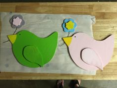 Bird for above my mantel. (4/11/15). Pink one is mine and green one is Evey's. (Brittany picked out both colors.)