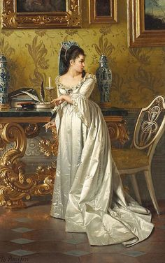 The Love Letter Pio Ricci (Italian, Academic, Classical, Oil on canvas. The heroines of Ricci's elegant paintings are often beautiful women wearing luxurious, silky fabrics. Painted Letters, Love Letters, Hand Painted, Classic Paintings, Victorian Art, Classical Art, Renaissance Art, Art And Illustration, Woman Painting