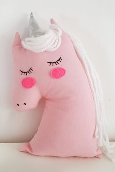 Unicorn baby pillow nursery decor pink stuffed unicorn toy