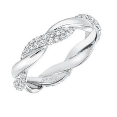 Artcarved 14K White Gold Diamond Twist Wedding Band/Anniversary Ring · 33-V13C-L · Ben Garelick Jewelers