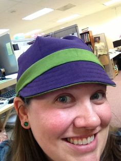 Use up scraps of knit to make this cute cap. Easy as can be with a serger. Free pattern included!