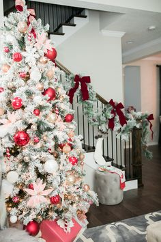 christmas tree red Flocked Christmas Tree With White and Red Christmas Ornaments