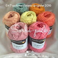 Catania Sorbé Pack - ett färgkoordinerat 7-pack med vårens nyheter 2016. Bara hos BautaWitch.com Happy Colors, Spring Colors, Ribbon, Packing, Knitting, Crochet, Diy, Inspiration, Balls