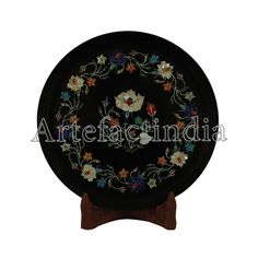 Items similar to Pietra Dura Inlay Wall Plate Black Marble Inlaid With Semi Precious Gemstones Beautiful Handmade Inlay Art Piece Wall Plate For Home Decor on Etsy Green Marble, Black Marble, Marble Wall, Kind Words, Mother Pearl, Wall Plaques, Semi Precious Gemstones, Plates On Wall, Traditional Art