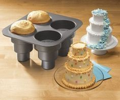 """Multi tier cake pans make baking so much fun and easier. No need to worry getting that perfect sphere shape! Mini Wedding Cakes, Mini Cakes, Cupcake Cakes, Mini Cake Pans, Baby Cakes, Multiple Wedding Cakes, Wedding Cupcakes, Wedding Favors, Tiered Cakes"