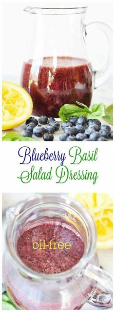 This delicious oil-free dressing has only four ingredients, if you -Blueberry Basil Salad Dressing - Blueberry Basil Salad Dressing! This delicious oil-free dressing has . Oil Free Salad Dressing, Salad Dressing Recipes, Salad Recipes, Raw Food Recipes, Vegetarian Recipes, Cooking Recipes, Healthy Recipes, Basil Recipes, Drink Recipes