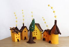 Small village in yellows Miniature. by Intres on Etsy, $35.00