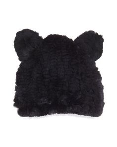 Fur Knit Hat With Ears, Black by Jocelyn at Bergdorf Goodman.