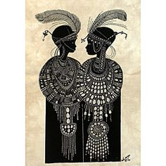'Maasai Girls with Ostrich Feathers' Heidi Lange Screen Print (Haiti) | Overstock.com Shopping - The Best Deals on Wall Hangings