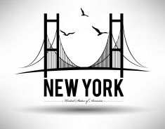 Illustration of Brooklyn Bridge in New York City vector art illustration