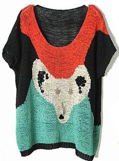 Black Beaded Fox Head Short Sleeve Ssweater $49.00