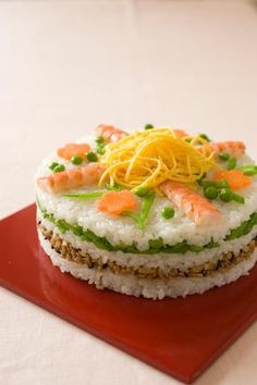 Sushi Cake, version two. Cute Food, Good Food, Yummy Food, Sweet Sushi, Sushi Cake, Sushi Burger, Weird Food, Asian Cooking, Food Humor