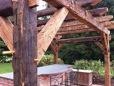 Garden Structures, Outdoor Structures, Outdoor Pergola, Outdoor Decor, Wooden Patios, Backyard Trees, Cedar Log, Timber Furniture, Outdoor Entertaining