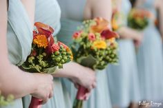 Orange, Spring Green, and Yellow bouquets with these Seafoam Bridesmaids Dresses - Great colors for a summer wedding.   photo: billyedonya.com venue: willowdaleestate.com