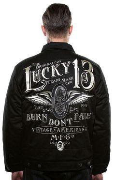 Lucky 13 Jacket XL Burn Don't Fade Motorcycle Hot Rod Winged Wheel Tattoo #Lucky13 #Chinojacket