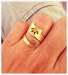 Venta 20% OFF envoltura del anillo del gato del gato de oro alrededor de BonnyRabbitBoutique