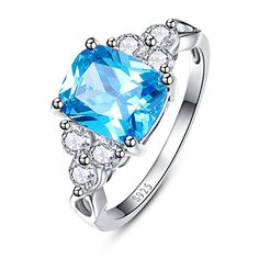 Bonlavie Womens Cushion Cut Created Swiss Blue Topaz  Cubic Zirconia 925 Sterling Silver Ring Size 9 ** You can find out more details at the link of the image.Note:It is affiliate link to Amazon. #likebackteam