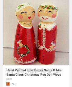 Santa & Mrs Clause peg doll set