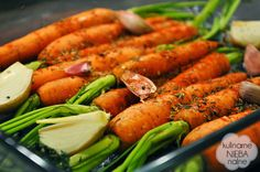 Roasted young carrots with olive oil and herbs <3