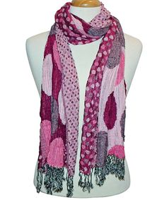 Take a look at this Pink Polka Dot Fringe Scarf on zulily today!