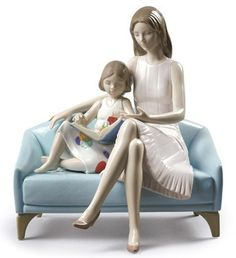 Lladro 09225 OUR READING MOMENT http://www.lladrofromspain.com/0ourremo.html  Issue Year: 2016  Sculptor: Marco Antonio Noguerón  Size: 23x21 cm  #lladro #reading #mother #girl #porcelain