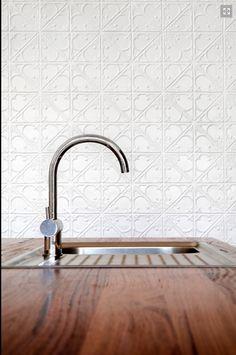 Beautiful snowflake design. Pressed tin wall - kitchen