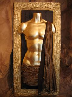 Male figure sculpture Gold and brown Home & wall decor by Maria Driva, $780.00