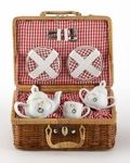 This children's Christmas tea set features the Christmas Angels that is always perfect for having a tea party. It is made of porcelain and packaged in a basket lined with red and white checked fabric for storage. The teapot holds 4 ounces and the teacups have a 1-1/2 ounce capacity, perfect for little hands.This dainty children's set includes a teapot, creamer and sugar, 2 plates, 2 cups and saucers, 2 forks and 2 spoons.