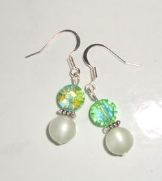 Mint Green Earrings Vintage Beads AB Crystal by CoastalCreationz, $8.00