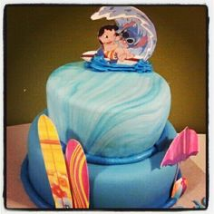 Cake for a surfer fan of Lilo & Stitch.