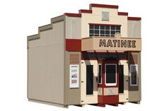 Amish Made Matinee Theater Playhouse Village Kit Kids Indoor Playhouse, Playhouse Kits, Build A Playhouse, Wooden Playhouse, Outdoor Playhouses, Simple Playhouse, Wood Truss, Types Of Planning, Outdoor Sheds