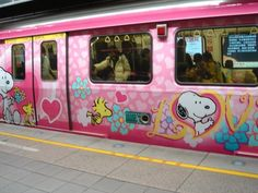 colorful / Pink Snoopy train in Taiwan