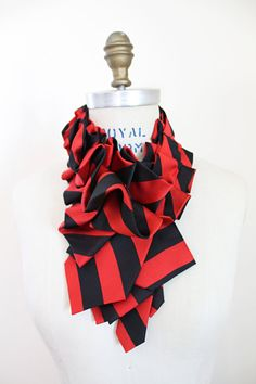 Lapel Silk Ruffle Necktie Collar Red and by lilianasterfield