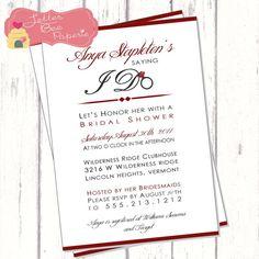 Bridal Shower Invitation - Custom Order to Match the Brides Colors - Printable Digital File via Etsy