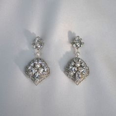 Renee Pawele 'Midori' Earrings.  Midori earrings feature leaf filigree embellished with cased marquise crystals, rhinestone chain and pearls. Earrings are double sided.