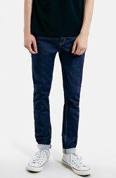 Topman Coated Skinny Fit Raw Denim Jeans (Mid Blue)