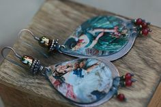 Women earrings tin Jewelryretroupcycled by Tribalis on Etsy, $51.00
