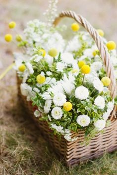 basket stuffed with one or two colours of flowers, the simpler the better   {amandak}