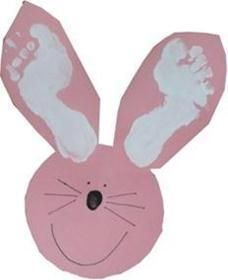 Easter craft. Also could have kids cut out the face and ears, footprints on the ears, thumb print for the nose, small buttons for the eyes and string or pipe cleaner for the whiskers/ mouth