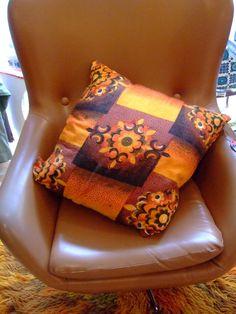 Handmade retro cushion using original 1970's fabric.