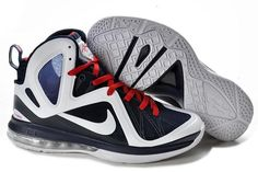 9a9299111123 Nike Air Max LeBron 9 + Mens Basketball Shoes White Dark Blue Red 516958