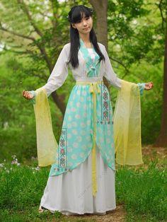 Women's Chiffon Skirt Ruqun dress Tang Dynasty Princess Hanfu Clothing - USD $ 228.00