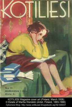 Schoolgirl with books at home. Cover art for Kotiliesi Magazine, March, 1936 (Finland). Martta Wendelin (Finland, © Estate of Martta Wendelin. The Tuusula Museum of Art has a dedicated. Reading Art, Woman Reading, I Love Books, My Books, People Reading, Children Reading, Books To Read For Women, Lectures, Finland