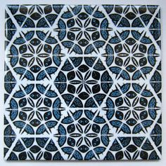 Blue Patchwork Tile from Jacqueline Talbot Designs