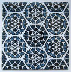 Blue Patchwork Tile from Jacqueline Talbot Designs