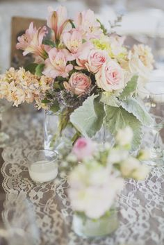 Gorgeous floral arrangements for wedding reception. Krista Lee Photography: Brittany and Kyle / Summer Cedarwood Wedding, Nashville, TN #pink #coral #lace #wedding #reception