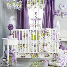 Glenna Jean Baby Girl Purple Floral Chic Cottage Crib Nursery Quilt Bedding Set