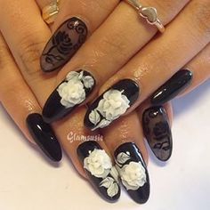 51 Stunning Nail Art Designs to Look Ravishing in Every Outfit Black and White Rose Nail Art Design 3d Nail Art, Rose Nail Art, Black Nail Art, Floral Nail Art, Rose Nails, Nail Art Hacks, Flower Nails, Glam Nails, Fancy Nails