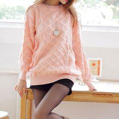 Leisure Sweet Oversize Pure Color Diamond Check Sweater