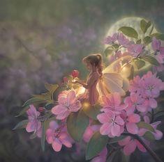 Sakura Moon - fairy tales, the most beautiful fantasy - Kunst Fantasy Artwork, Fantasy Art Angels, Fantasy Fairies, Fantasy Mermaids, Fantasy World, Art Anime Fille, Anime Art Girl, Beautiful Fantasy Art, Beautiful Fairies